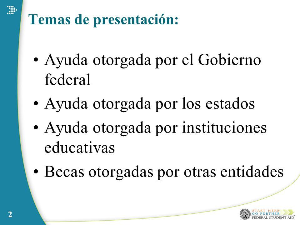 2 Temas de presentación: Ayuda otorgada por el Gobierno federal Ayuda otorgada por los estados Ayuda otorgada por instituciones educativas Becas otorg
