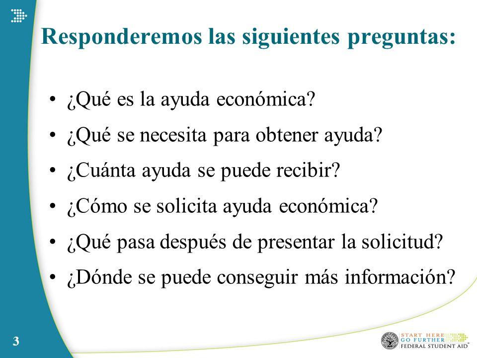 3 Responderemos las siguientes preguntas: ¿Qué es la ayuda económica? ¿Qué se necesita para obtener ayuda? ¿Cuánta ayuda se puede recibir? ¿Cómo se so