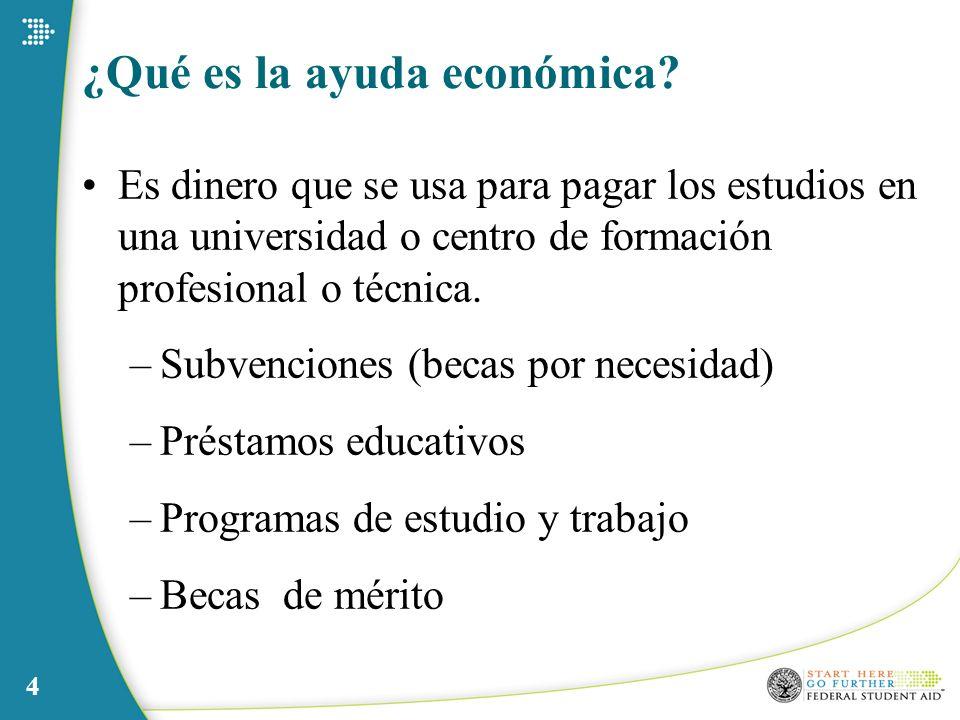4 ¿Qué es la ayuda económica? Es dinero que se usa para pagar los estudios en una universidad o centro de formación profesional o técnica. –Subvencion