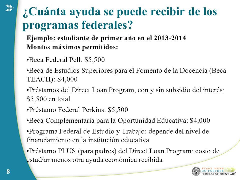 8 ¿Cuánta ayuda se puede recibir de los programas federales? Ejemplo: estudiante de primer año en el 2013-2014 Montos máximos permitidos: Beca Federal