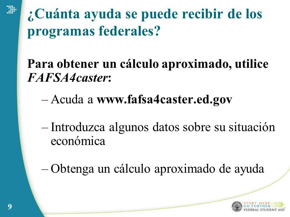 9 ¿Cuánta ayuda se puede recibir de los programas federales? Para obtener un cálculo aproximado, utilice FAFSA4caster: –Acuda a www.fafsa4caster.ed.go