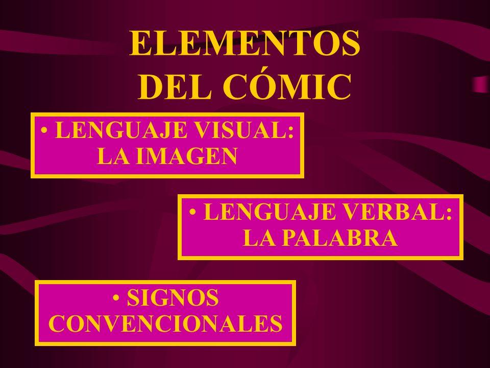 ELEMENTOS DEL CÓMIC LENGUAJE VERBAL: LA PALABRA SIGNOS CONVENCIONALES LENGUAJE VISUAL: LA IMAGEN