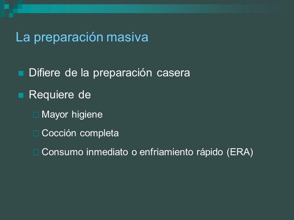 La preparación masiva Difiere de la preparación casera Requiere de Mayor higiene Cocción completa Consumo inmediato o enfriamiento rápido (ERA)