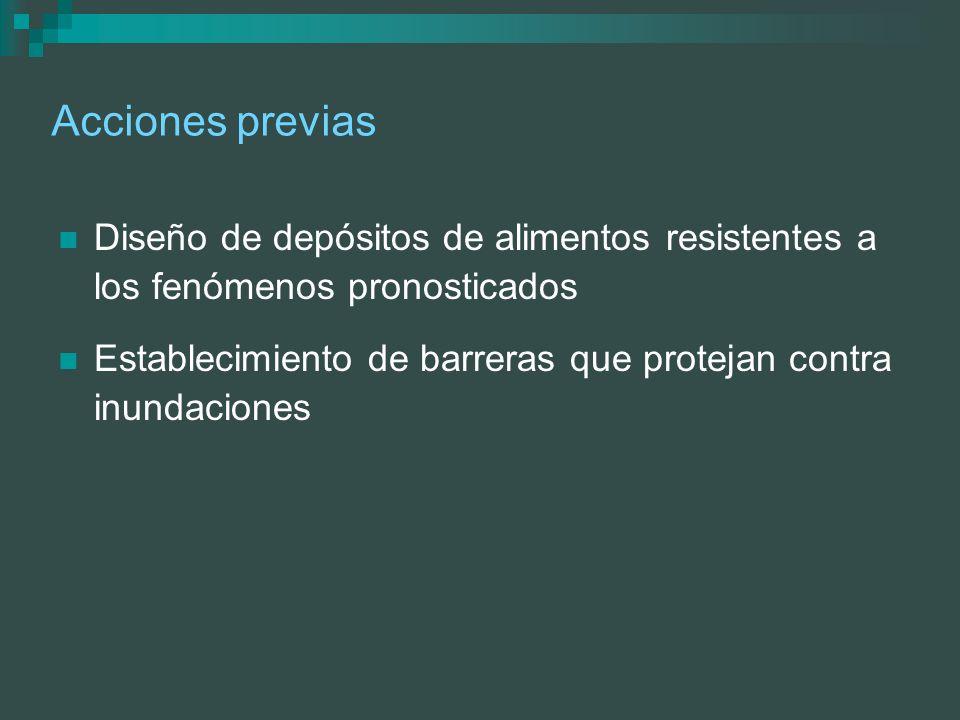 Acciones previas Diseño de depósitos de alimentos resistentes a los fenómenos pronosticados Establecimiento de barreras que protejan contra inundacion