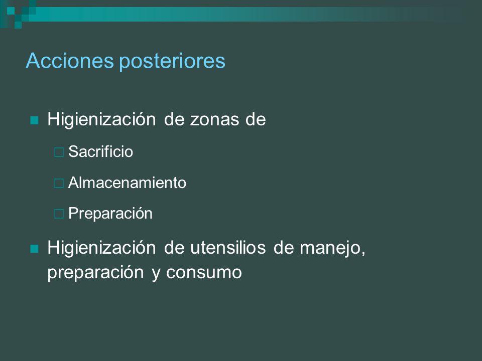 Acciones posteriores Higienización de zonas de Sacrificio Almacenamiento Preparación Higienización de utensilios de manejo, preparación y consumo