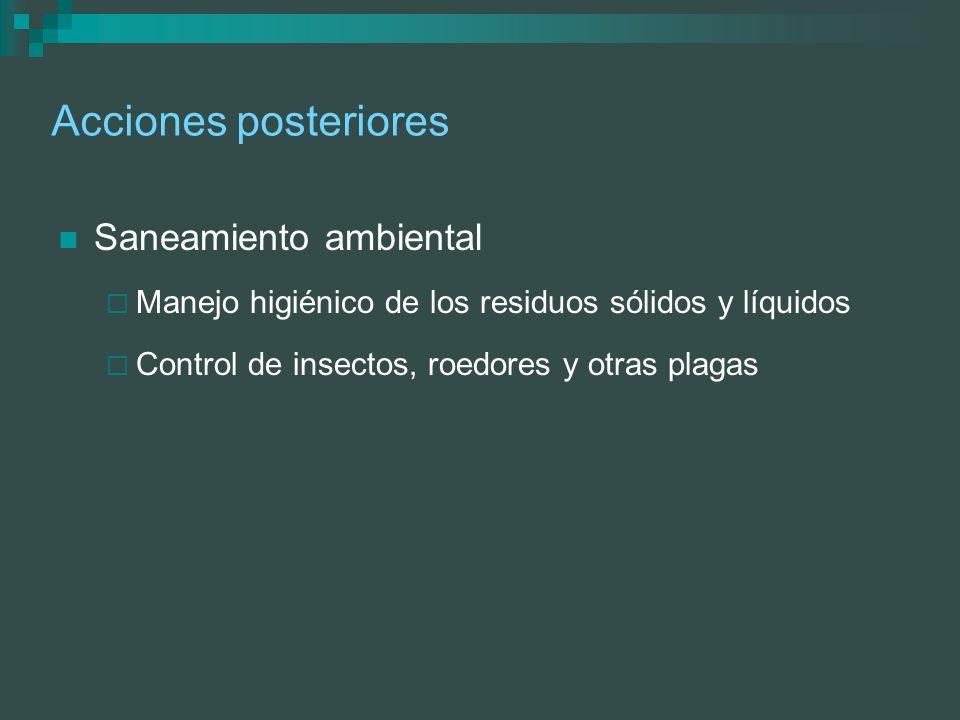 Acciones posteriores Saneamiento ambiental Manejo higiénico de los residuos sólidos y líquidos Control de insectos, roedores y otras plagas
