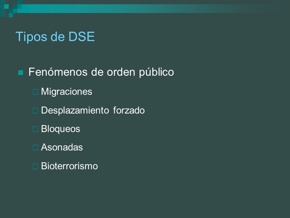 En los DSE El cambio intempestivo de las condiciones del medio origina una serie de efectos que dependen de las características Geográficas Sociales Económicas Demográficas De infraestructura