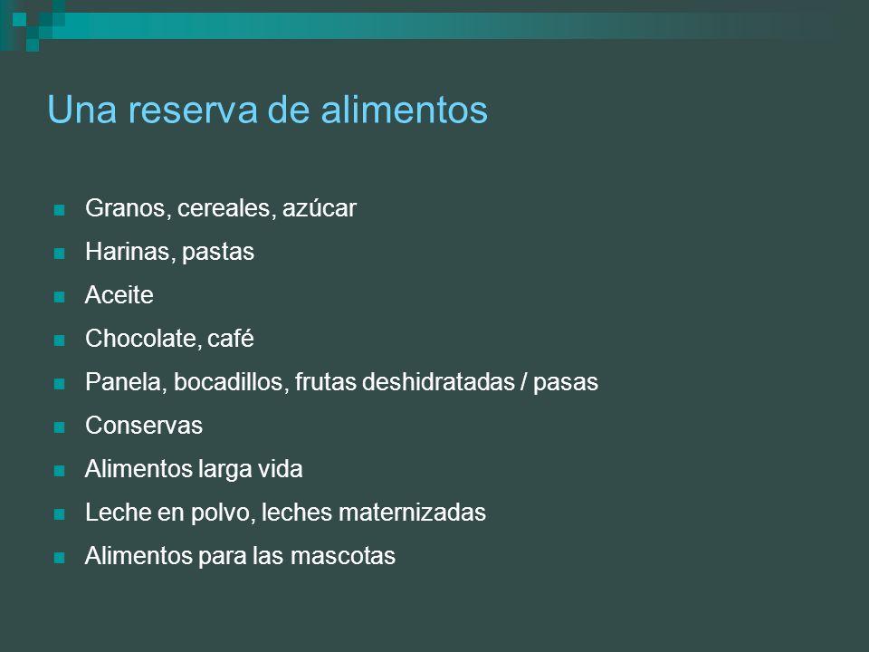 Una reserva de alimentos Granos, cereales, azúcar Harinas, pastas Aceite Chocolate, café Panela, bocadillos, frutas deshidratadas / pasas Conservas Al