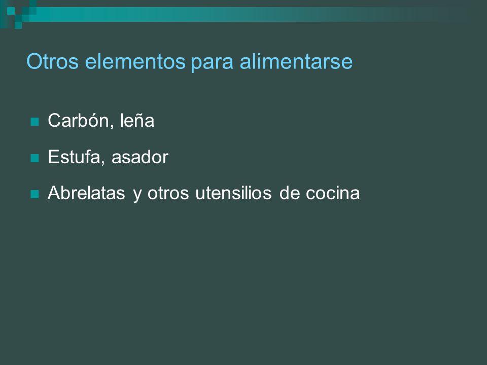 Otros elementos para alimentarse Carbón, leña Estufa, asador Abrelatas y otros utensilios de cocina