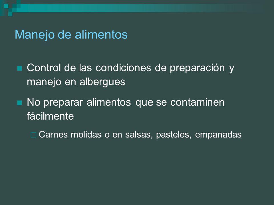 Manejo de alimentos Control de las condiciones de preparación y manejo en albergues No preparar alimentos que se contaminen fácilmente Carnes molidas