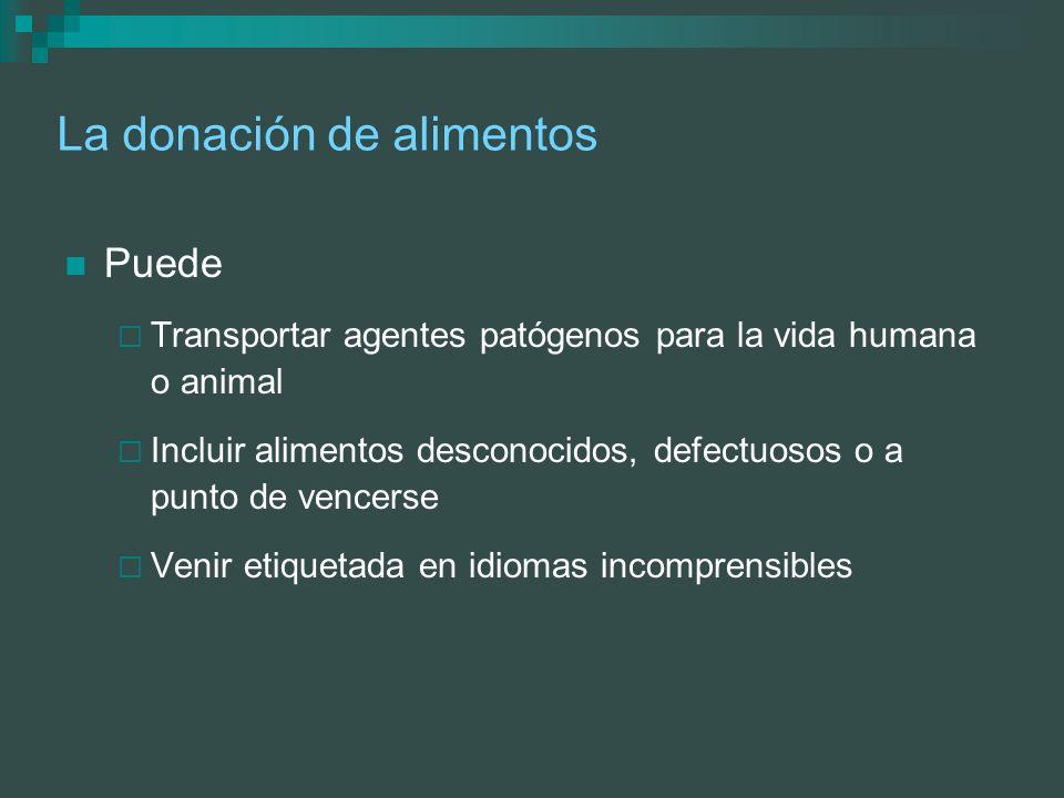 La donación de alimentos Puede Transportar agentes patógenos para la vida humana o animal Incluir alimentos desconocidos, defectuosos o a punto de ven
