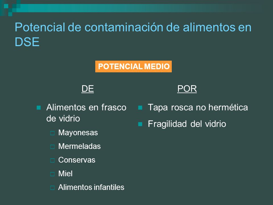 Potencial de contaminación de alimentos en DSE Alimentos en frasco de vidrio Mayonesas Mermeladas Conservas Miel Alimentos infantiles Tapa rosca no he