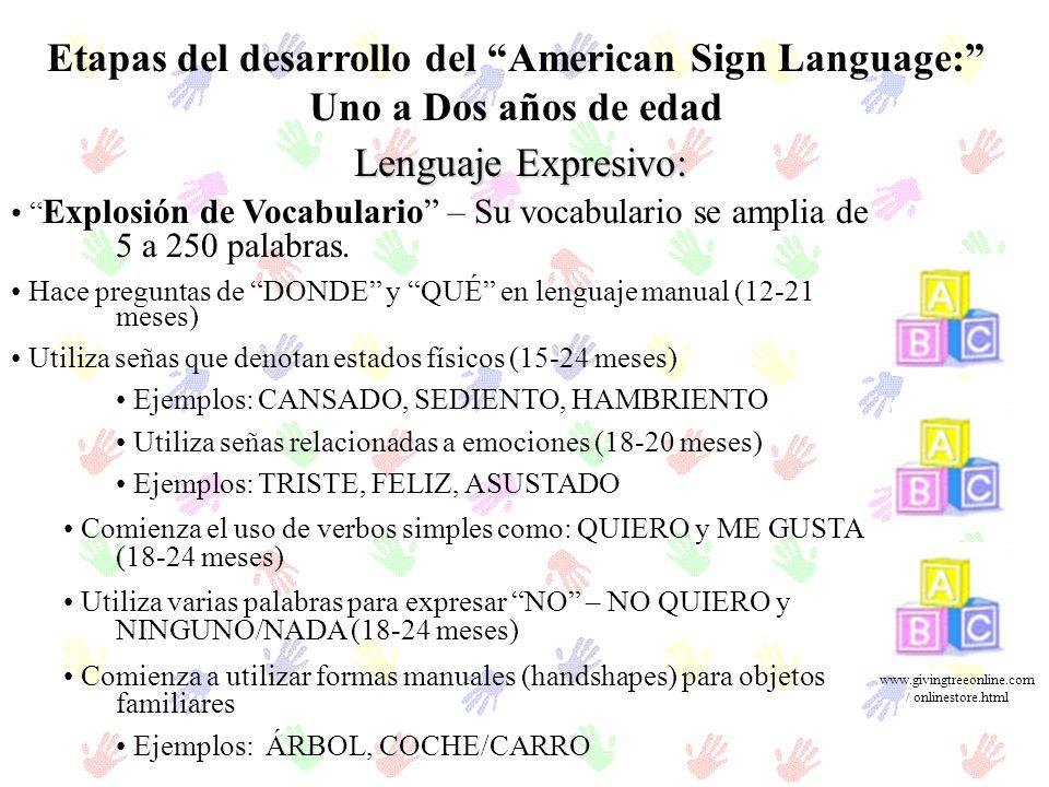 Etapas del desarrollo del American Sign Language: Uno a Dos años de edad Lenguaje Expresivo: Explosión de Vocabulario – Su vocabulario se amplia de 5