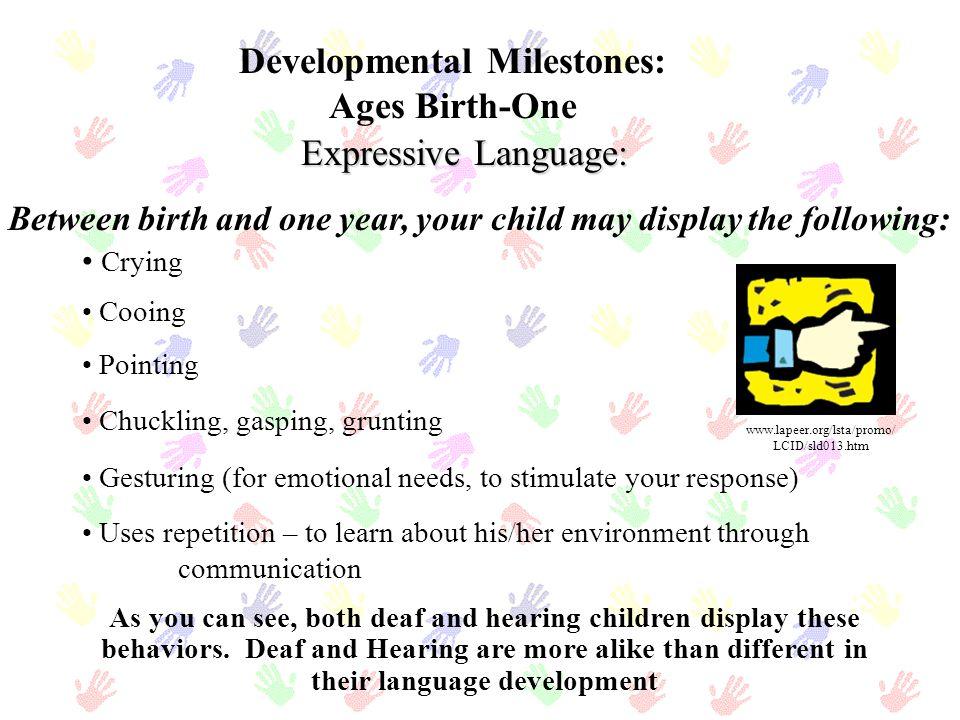 Etapas del desarrollo del American Sign Language: Tres a Cuatro años de edad Lenguaje Expresivo: Comunica facilmente ideas, sentimientos, historias, y problemas Narra dos acontecimientos utilizando la secuencia correcta Tiene conversaciones largas y detalladas Utiliza el lenguaje para llamar la atención hacia si mismo Adquiere y procura constantemente utilizar formas de las manos (handshapes) complejos: L, R, V, X, Y, 3 Expresa oraciones complejas Amplía la gramática facial, incluyendo aspectos de número, intensidad, y tiempo Utiliza las formas manuales (handshapes) acompañadas de movimiento para objetos familiares Ejemplo: COCHE, LLUVIA Características que su niño puede exhibir: www.hrdc- drhc.gc.ca/.../publication s/ nlscy/mar98_e.shtml