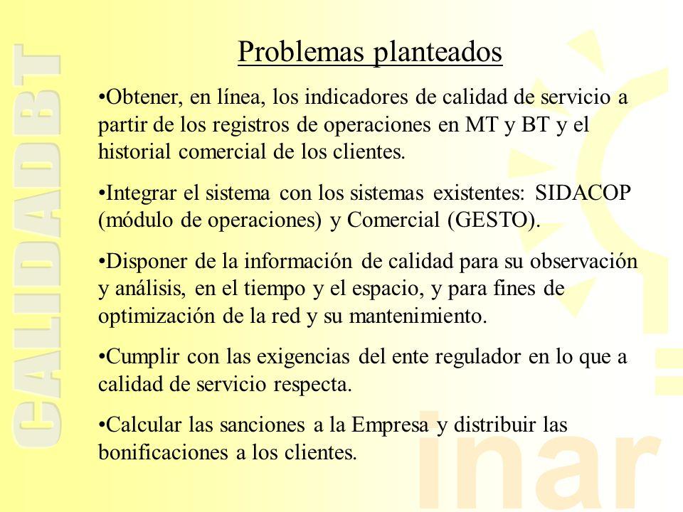 inar Problemas planteados Obtener, en línea, los indicadores de calidad de servicio a partir de los registros de operaciones en MT y BT y el historial comercial de los clientes.