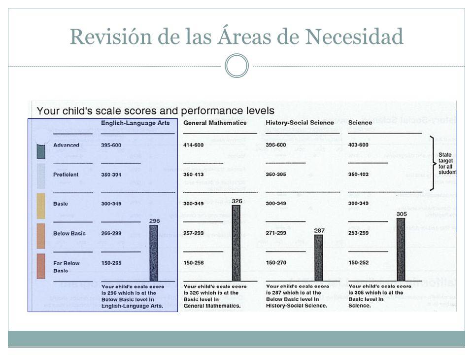 Revisión de las Áreas de Necesidad