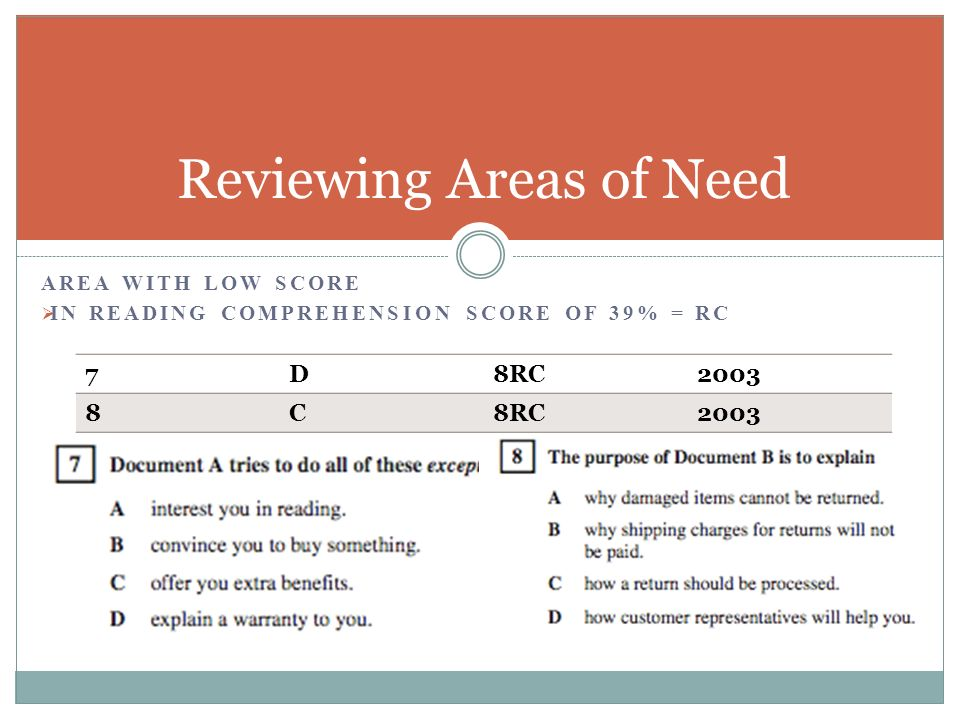 AREA WITH LOW SCORE IN READING COMPREHENSION SCORE OF 39% = RC Reviewing Areas of Need 7D8RC2003 8C8RC2003