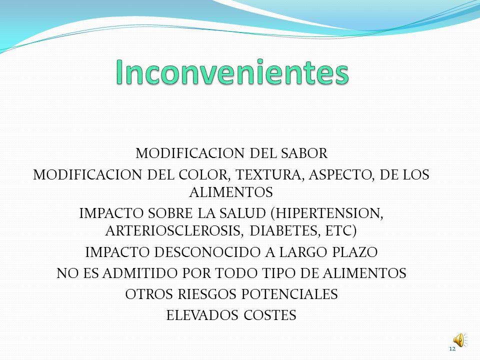 MODIFICACION DEL SABOR MODIFICACION DEL COLOR, TEXTURA, ASPECTO, DE LOS ALIMENTOS IMPACTO SOBRE LA SALUD (HIPERTENSION, ARTERIOSCLEROSIS, DIABETES, ET