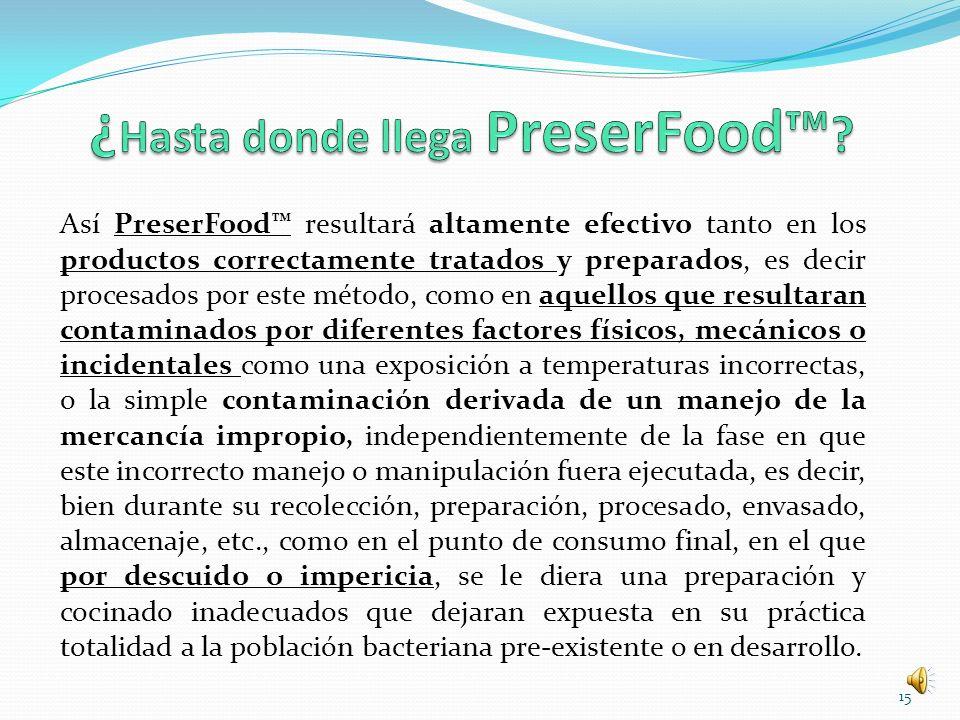 Así PreserFood resultará altamente efectivo tanto en los productos correctamente tratados y preparados, es decir procesados por este método, como en a