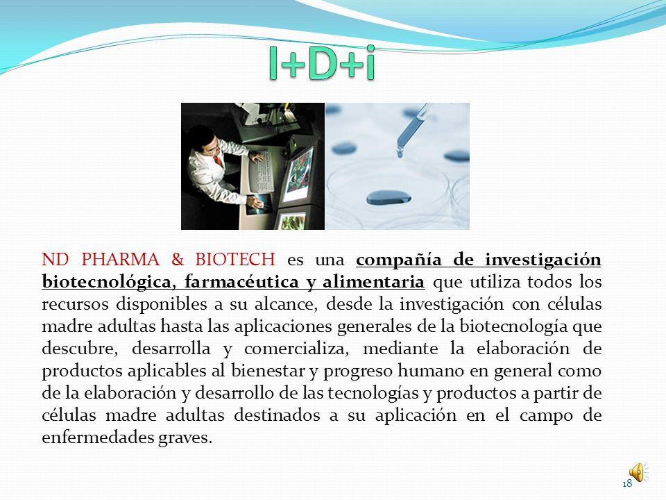 ND PHARMA & BIOTECH es una compañía de investigación biotecnológica, farmacéutica y alimentaria que utiliza todos los recursos disponibles a su alcanc