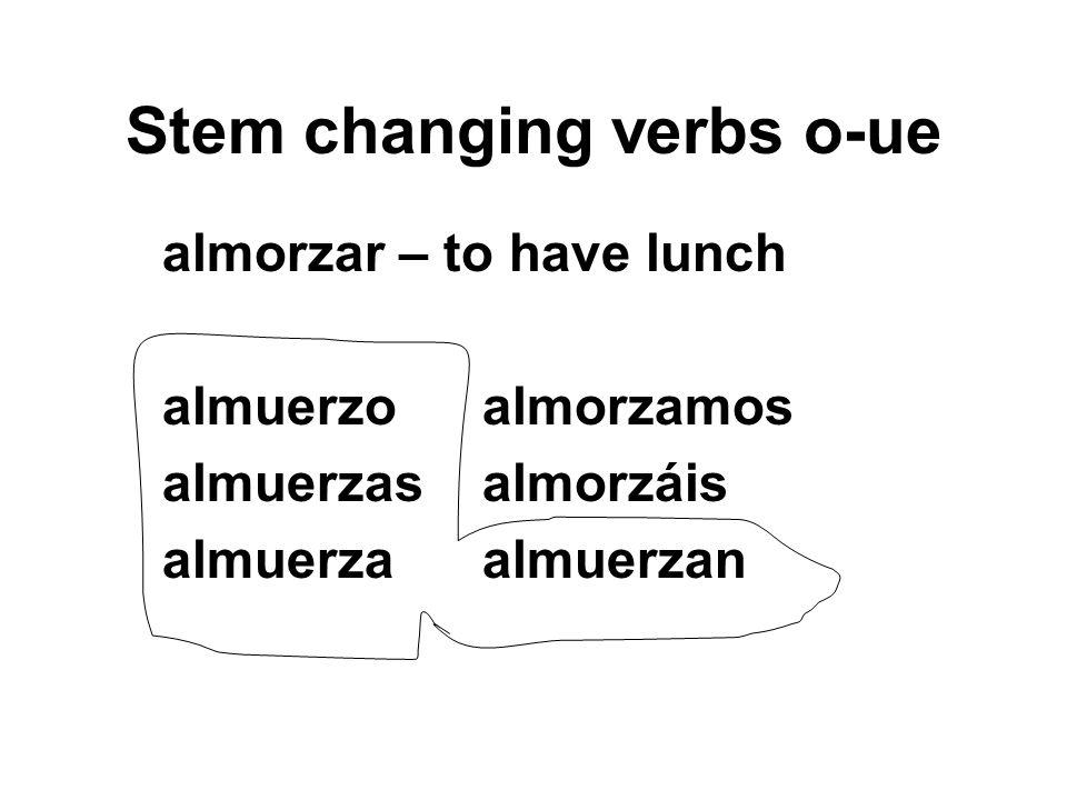Stem changing verbs o-ue almorzar – to have lunch almuerzoalmorzamos almuerzasalmorzáis almuerzaalmuerzan