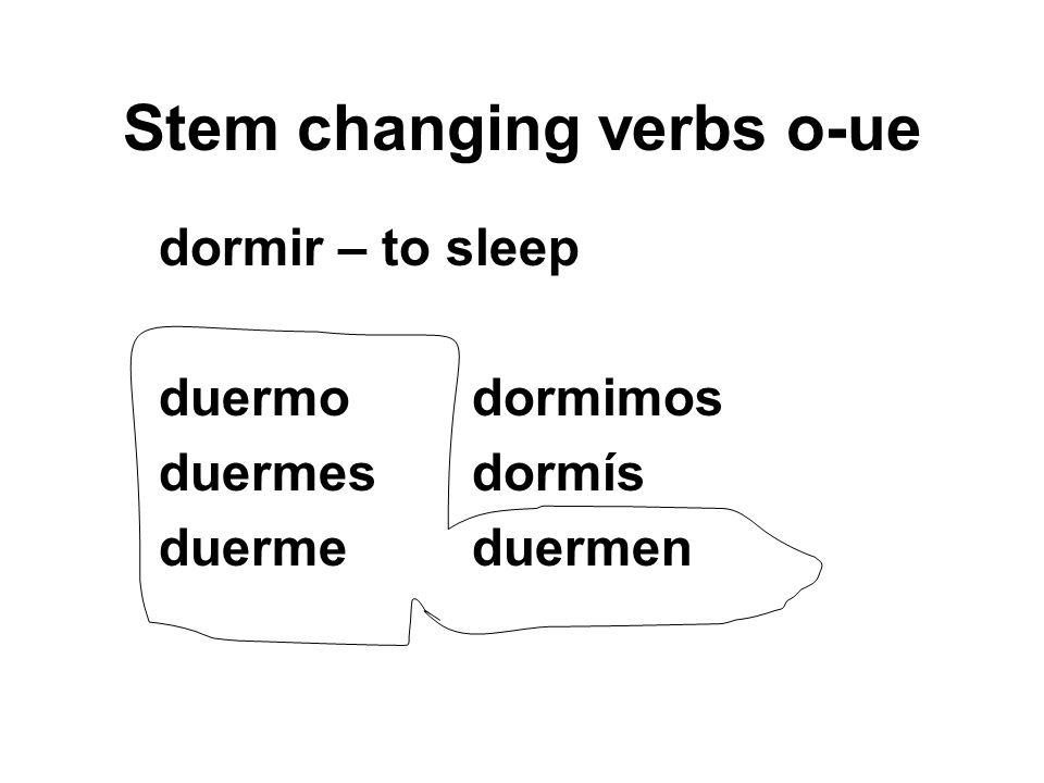 Stem changing verbs o-ue dormir – to sleep duermodormimos duermesdormís duermeduermen