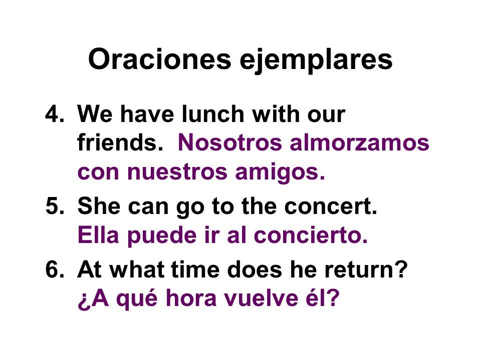 Oraciones ejemplares 7.The notebooks cost three dollars.