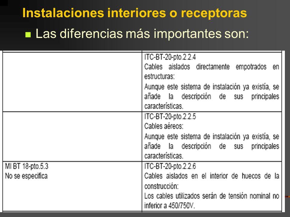 Instalaciones interiores o receptoras Las diferencias más importantes son:
