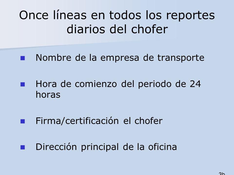 Once líneas en todos los reportes diarios del chofer Nombre de la empresa de transporte Hora de comienzo del periodo de 24 horas Firma/certificación e