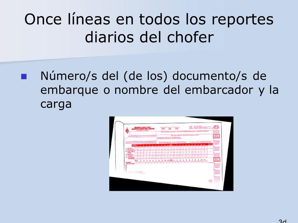 Once líneas en todos los reportes diarios del chofer Número/s del (de los) documento/s de embarque o nombre del embarcador y la carga 3d