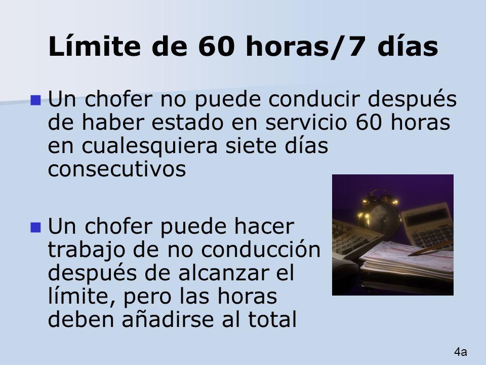 Límite de 60 horas/7 días Un chofer no puede conducir después de haber estado en servicio 60 horas en cualesquiera siete días consecutivos Un chofer p