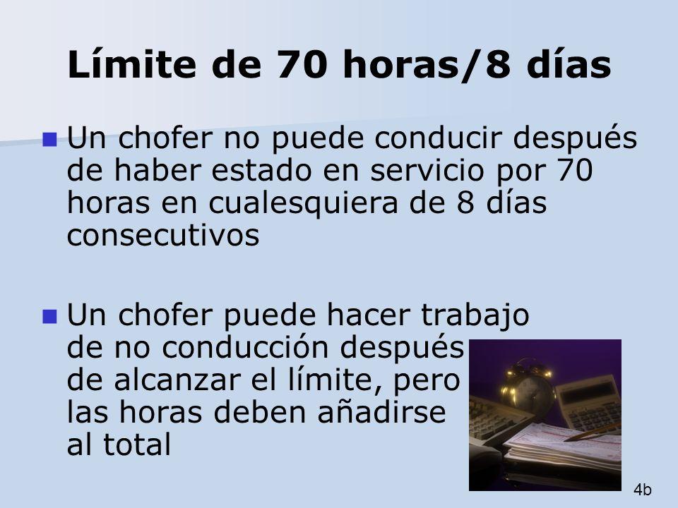 Límite de 70 horas/8 días Un chofer no puede conducir después de haber estado en servicio por 70 horas en cualesquiera de 8 días consecutivos Un chofe