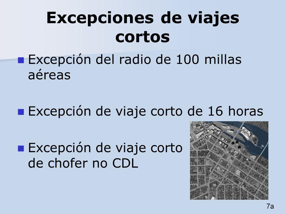 Excepciones de viajes cortos Excepción del radio de 100 millas aéreas Excepción de viaje corto de 16 horas Excepción de viaje corto de chofer no CDL 7
