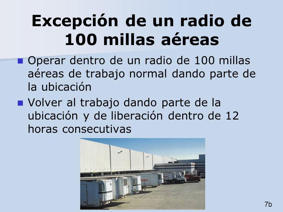 Excepción de un radio de 100 millas aéreas Operar dentro de un radio de 100 millas aéreas de trabajo normal dando parte de la ubicación Volver al trab