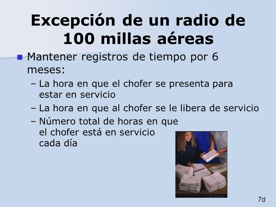 Excepción de un radio de 100 millas aéreas Mantener registros de tiempo por 6 meses: –La hora en que el chofer se presenta para estar en servicio –La
