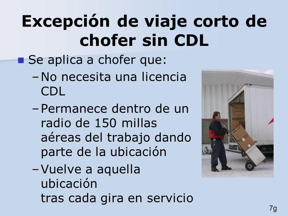 Excepción de viaje corto de chofer sin CDL Se aplica a chofer que: –No necesita una licencia CDL –Permanece dentro de un radio de 150 millas aéreas de