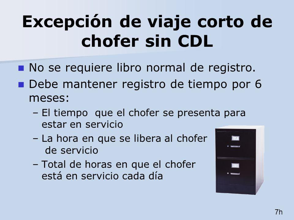Excepción de viaje corto de chofer sin CDL No se requiere libro normal de registro. Debe mantener registro de tiempo por 6 meses: –El tiempo que el ch
