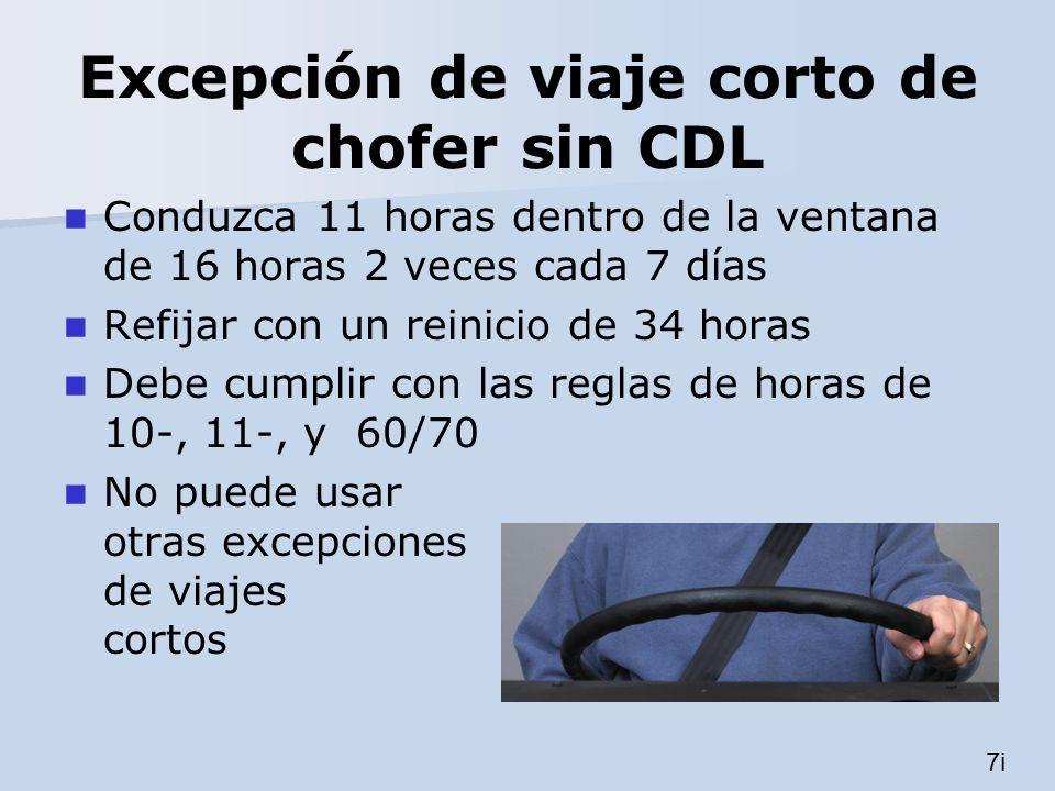 Excepción de viaje corto de chofer sin CDL Conduzca 11 horas dentro de la ventana de 16 horas 2 veces cada 7 días Refijar con un reinicio de 34 horas