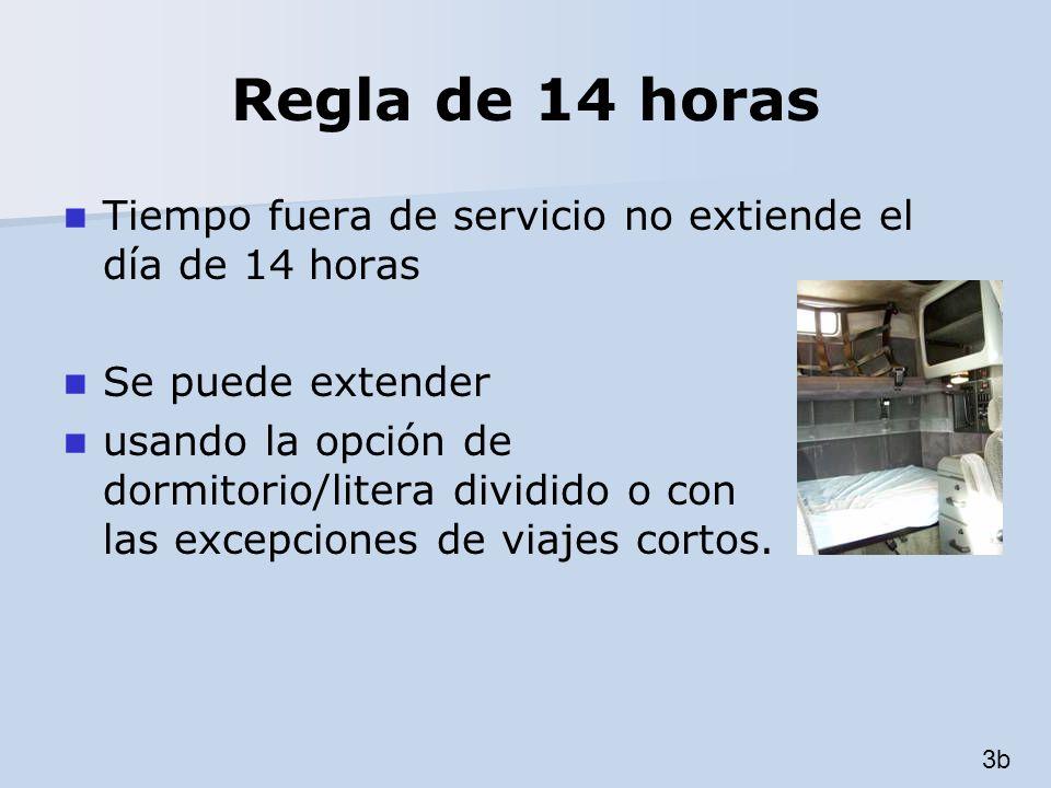 Regla de 14 horas Tiempo fuera de servicio no extiende el día de 14 horas Se puede extender usando la opción de dormitorio/litera dividido o con las e