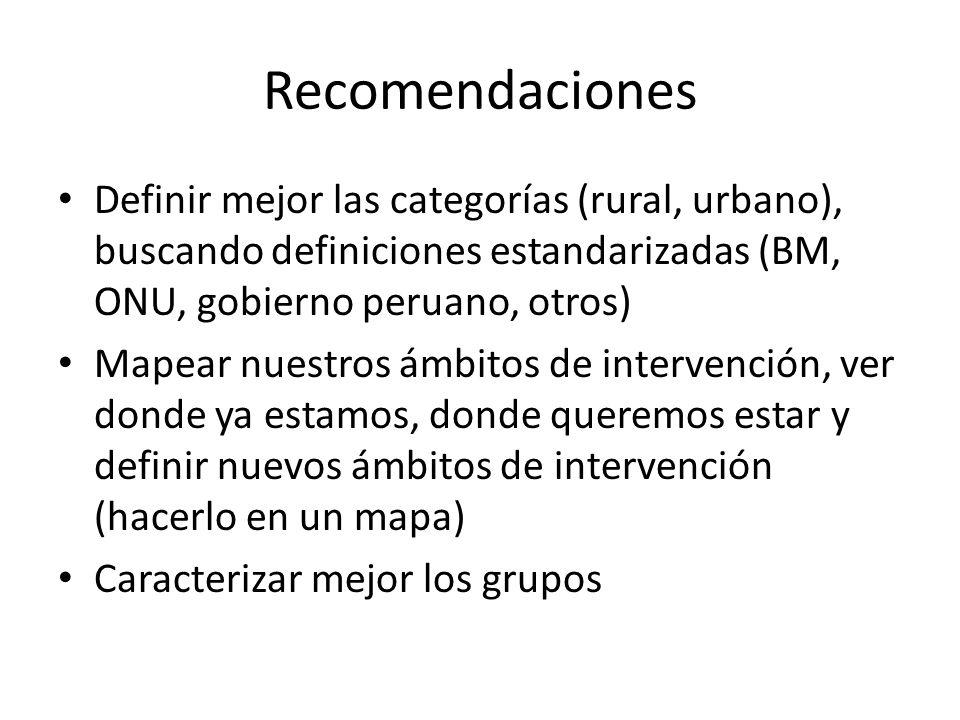 Recomendaciones Definir mejor las categorías (rural, urbano), buscando definiciones estandarizadas (BM, ONU, gobierno peruano, otros) Mapear nuestros ámbitos de intervención, ver donde ya estamos, donde queremos estar y definir nuevos ámbitos de intervención (hacerlo en un mapa) Caracterizar mejor los grupos
