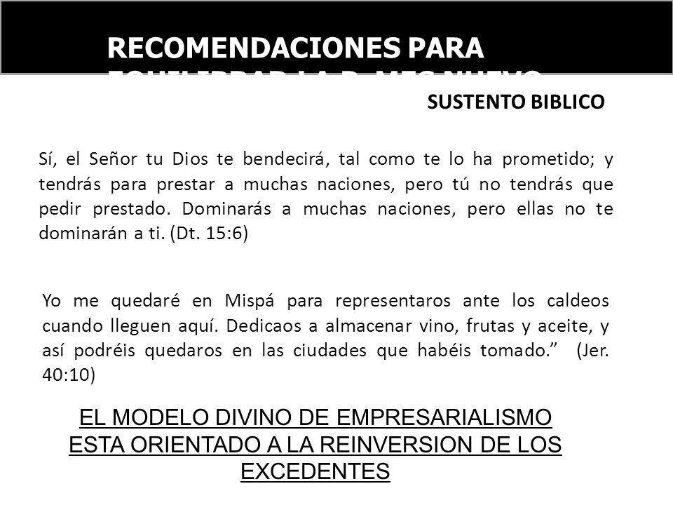 RECOMENDACIONES PARA EQUILIBRAR LA PyMES NUEVO ORDEN FINANCIERO INTERNACIONAL Sí, el Señor tu Dios te bendecirá, tal como te lo ha prometido; y tendrá