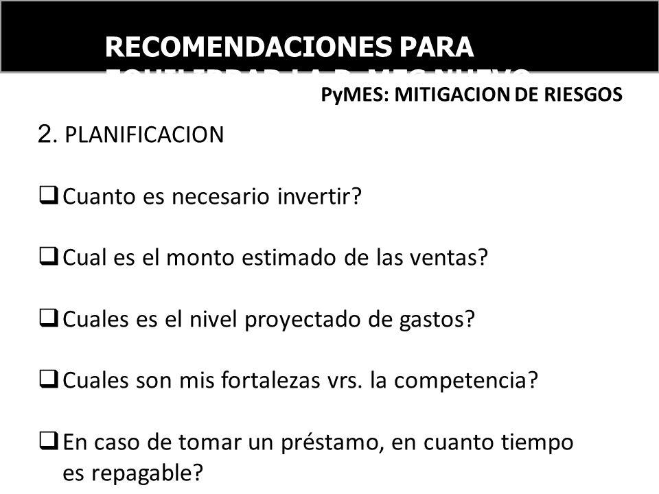 RECOMENDACIONES PARA EQUILIBRAR LA PyMES NUEVO ORDEN FINANCIERO INTERNACIONAL PyMES: MITIGACION DE RIESGOS 2. PLANIFICACION Cuanto es necesario invert