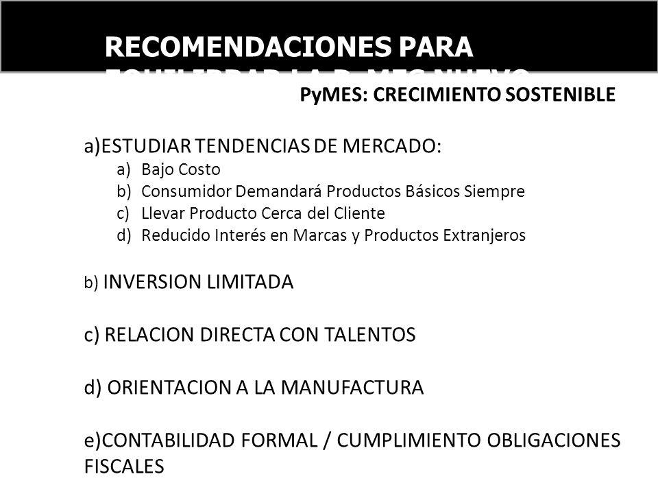 RECOMENDACIONES PARA EQUILIBRAR LA PyMES NUEVO ORDEN FINANCIERO INTERNACIONAL PyMES: CRECIMIENTO SOSTENIBLE a)ESTUDIAR TENDENCIAS DE MERCADO: a)Bajo C
