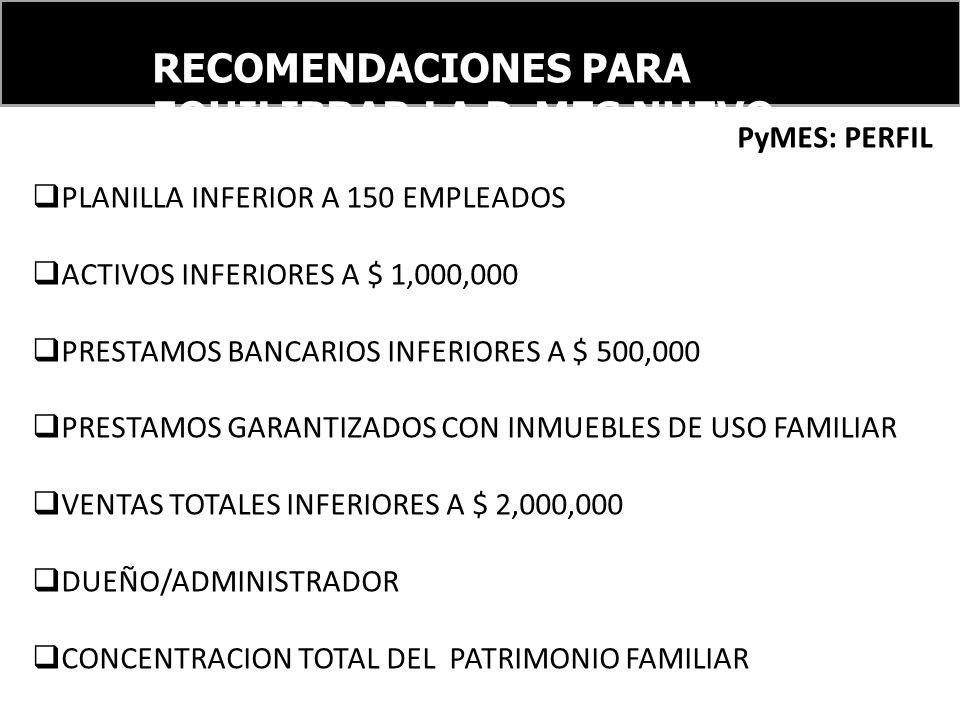 RECOMENDACIONES PARA EQUILIBRAR LA PyMES NUEVO ORDEN FINANCIERO INTERNACIONAL PyMES: PERFIL PLANILLA INFERIOR A 150 EMPLEADOS ACTIVOS INFERIORES A $ 1