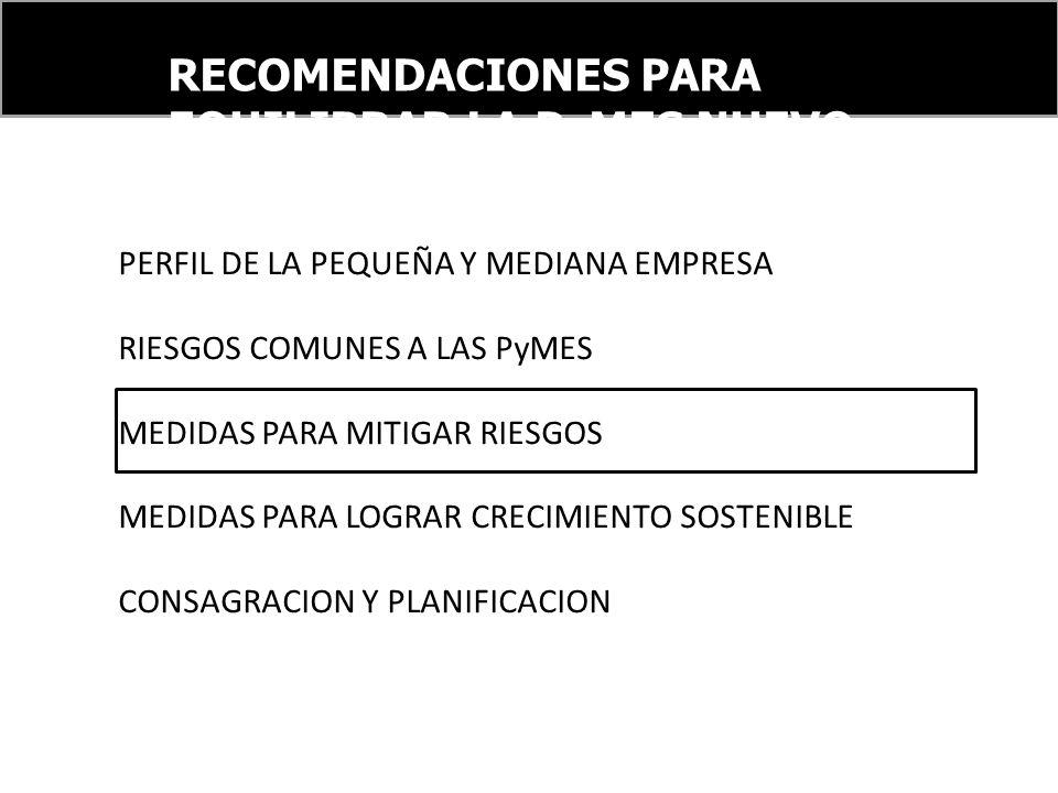 RECOMENDACIONES PARA EQUILIBRAR LA PyMES NUEVO ORDEN FINANCIERO INTERNACIONAL PERFIL DE LA PEQUEÑA Y MEDIANA EMPRESA RIESGOS COMUNES A LAS PyMES MEDID