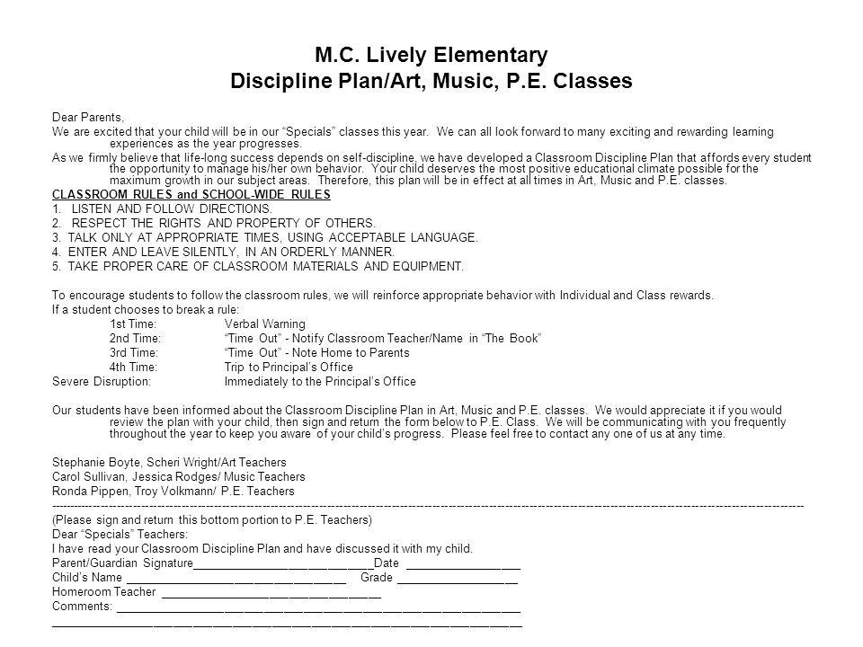 M.C.Lively Elementary Plan de Disciplina/ Clases de Arte, Musica y P.E.