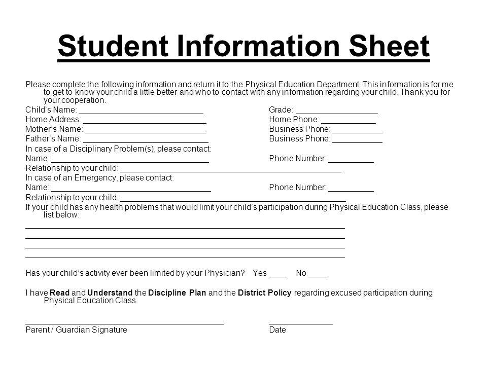Informacíon sobre el estudiante Por favor escriba la siguiente informacíon y devuelvala al departmento de educacíon física a la rápido.