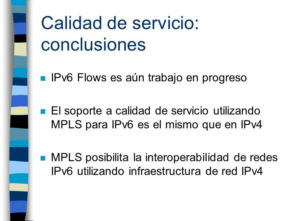 Calidad de servicio: conclusiones n IPv6 Flows es aún trabajo en progreso n El soporte a calidad de servicio utilizando MPLS para IPv6 es el mismo que