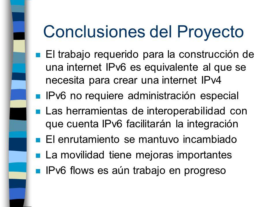 Conclusiones del Proyecto n El trabajo requerido para la construcción de una internet IPv6 es equivalente al que se necesita para crear una internet I