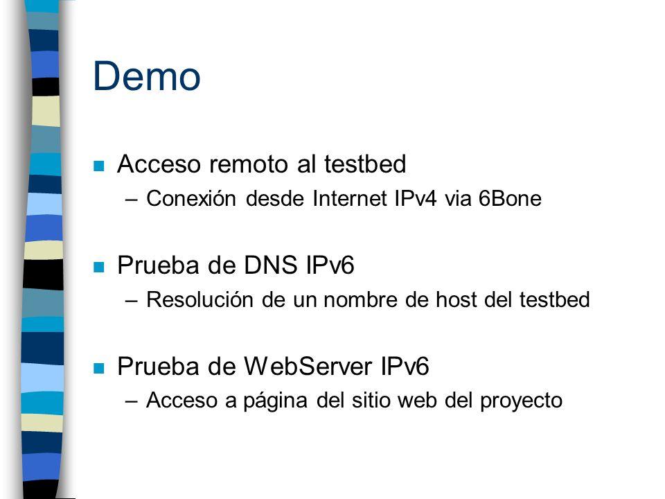 Demo n Acceso remoto al testbed –Conexión desde Internet IPv4 via 6Bone n Prueba de DNS IPv6 –Resolución de un nombre de host del testbed n Prueba de